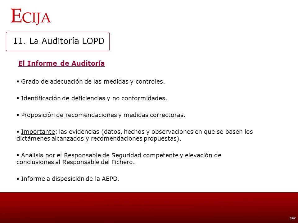 11. La Auditoría LOPD Implantación de medidas correctoras