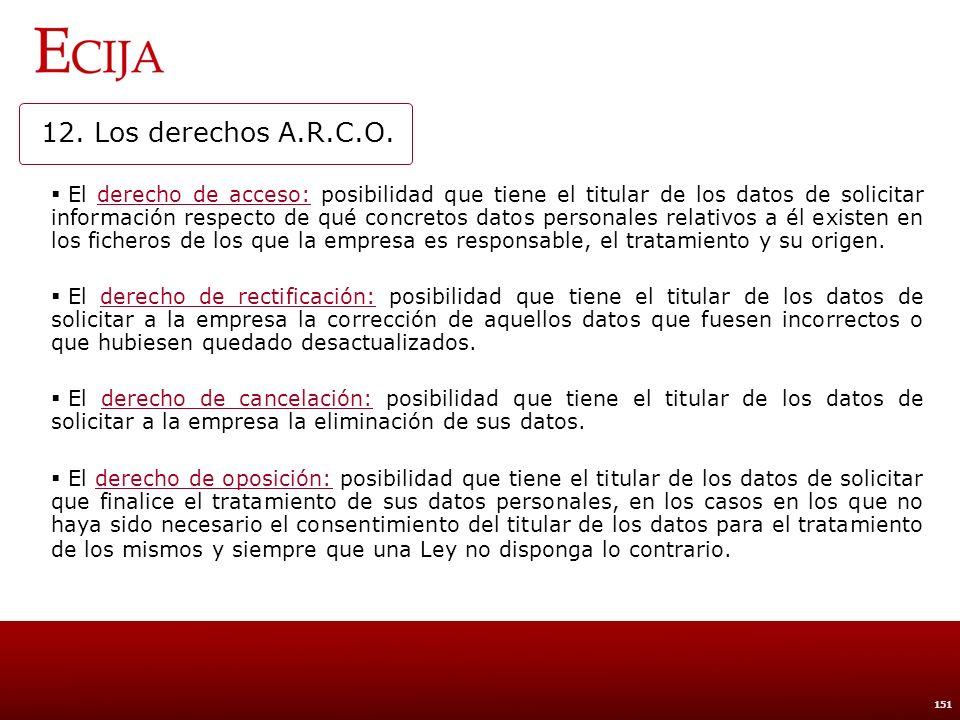 12. Los derechos A.R.C.O. Ejercicio de los derechos debe ser gratuito (ejercitados dichos derechos conjuntamente o por separado).