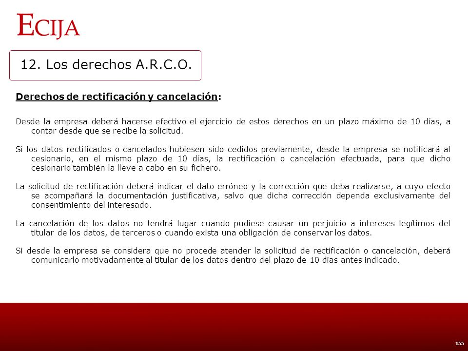 12. Los derechos A.R.C.O. Derecho de oposición