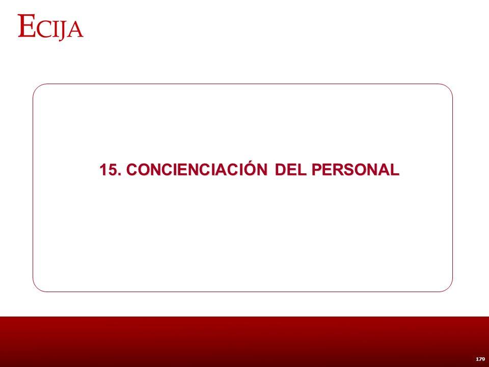 15. Concienciación del personal