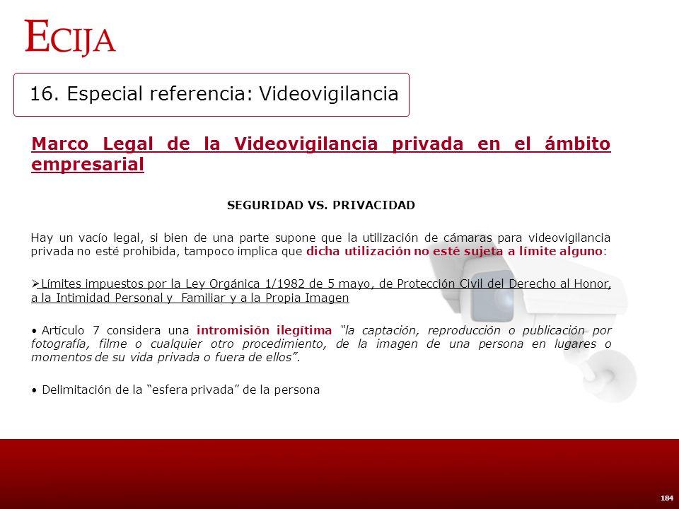 16. Especial referencia: Videovigilancia