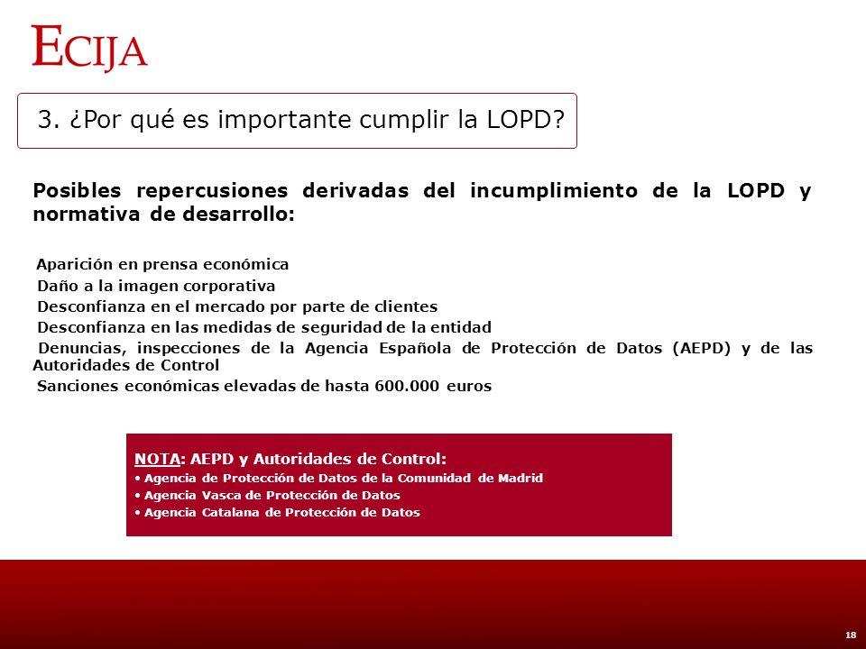 3. ¿Por qué es importante cumplir la LOPD