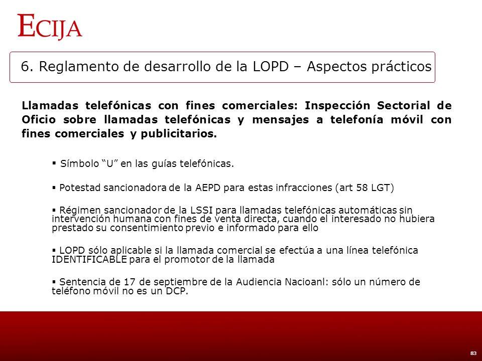 6. Reglamento de desarrollo de la LOPD – Aspectos prácticos