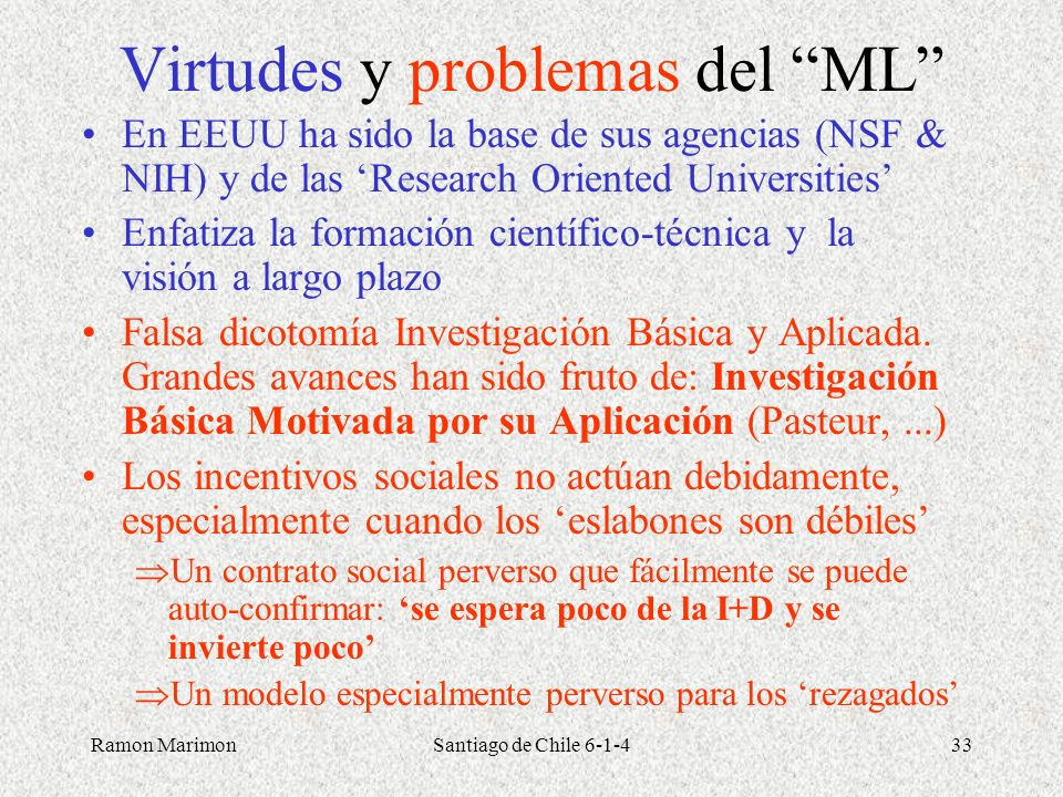 Virtudes y problemas del ML