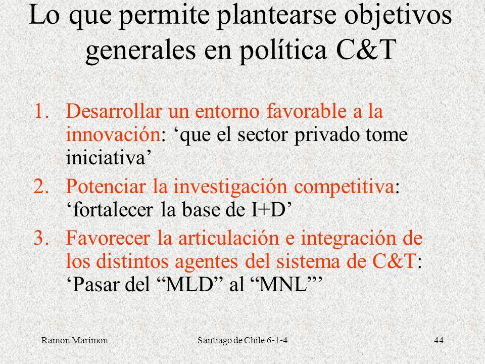 Lo que permite plantearse objetivos generales en política C&T