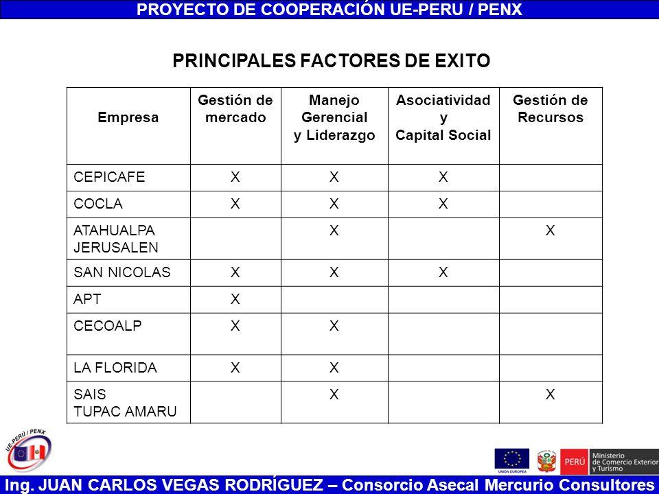 PROYECTO DE COOPERACIÓN UE-PERU / PENX PRINCIPALES FACTORES DE EXITO