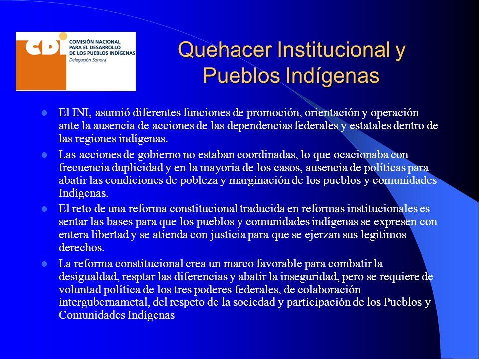 Quehacer Institucional y Pueblos Indígenas