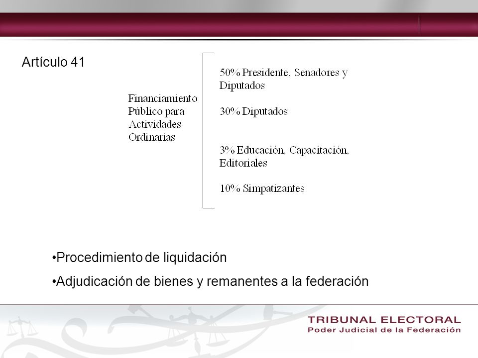 Artículo 41 Procedimiento de liquidación Adjudicación de bienes y remanentes a la federación