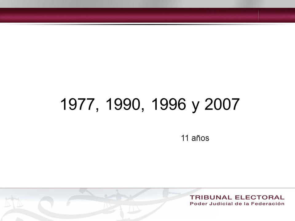 1977, 1990, 1996 y 2007 11 años