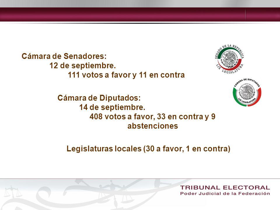 Cámara de Senadores:12 de septiembre. 111 votos a favor y 11 en contra. Cámara de Diputados: 14 de septiembre.