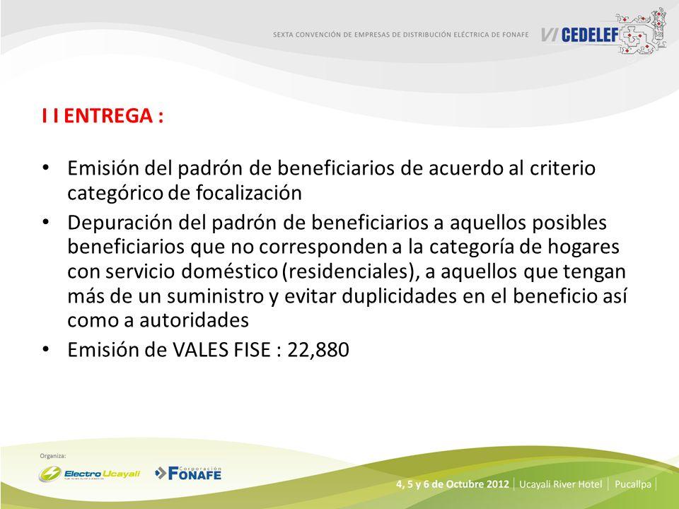 I I ENTREGA : Emisión del padrón de beneficiarios de acuerdo al criterio categórico de focalización.