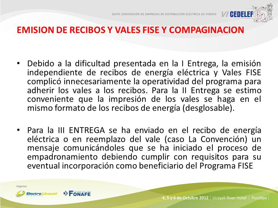 EMISION DE RECIBOS Y VALES FISE Y COMPAGINACION