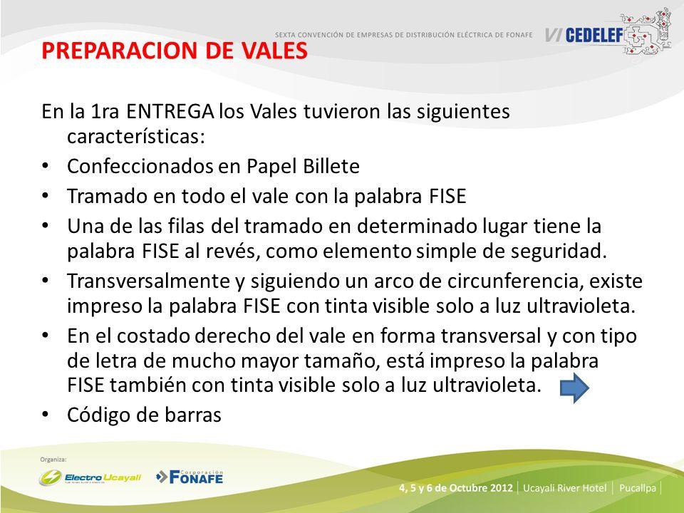 PREPARACION DE VALES En la 1ra ENTREGA los Vales tuvieron las siguientes características: Confeccionados en Papel Billete.