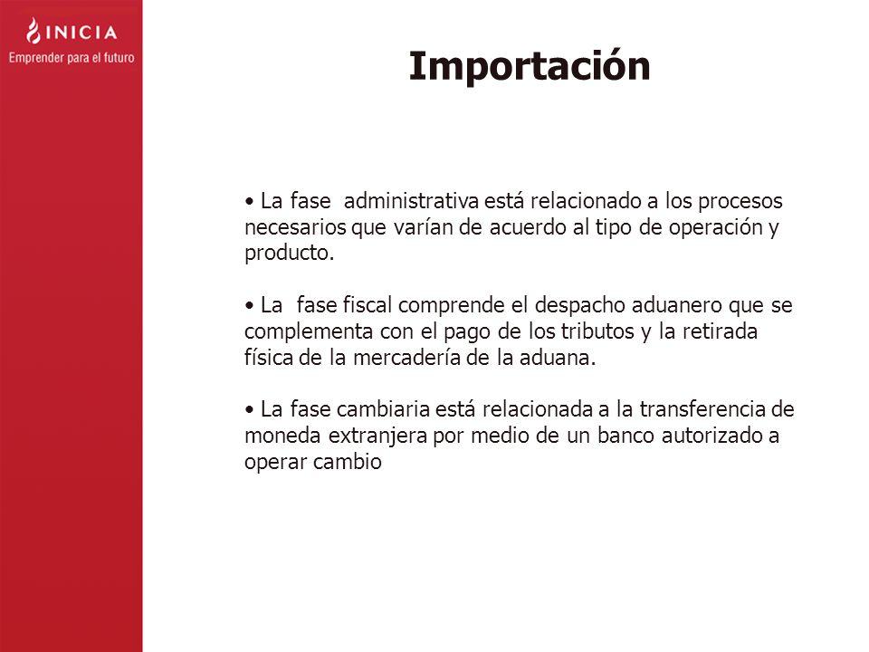 Importación La fase administrativa está relacionado a los procesos necesarios que varían de acuerdo al tipo de operación y producto.
