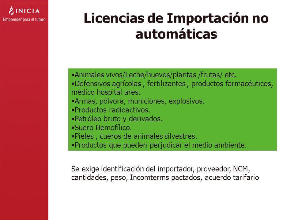 Licencias de Importación no automáticas