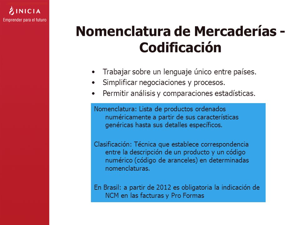 Nomenclatura de Mercaderías - Codificación