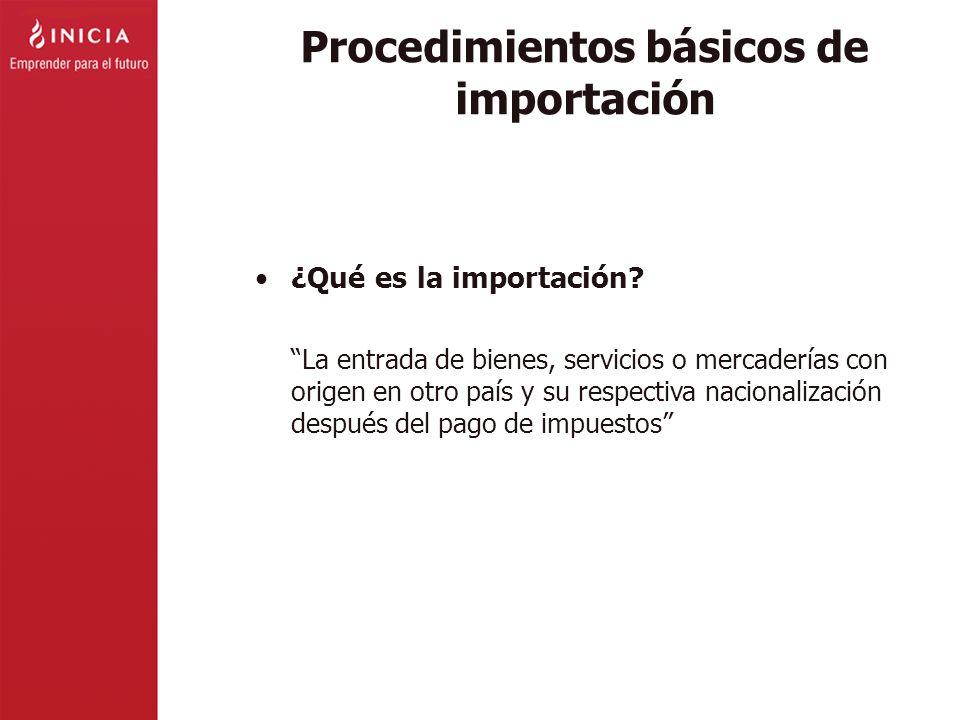 Procedimientos básicos de importación