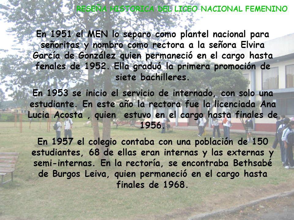 RESEÑA HISTORICA DEL LICEO NACIONAL FEMENINO