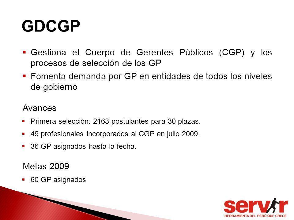 GDCGP Gestiona el Cuerpo de Gerentes Públicos (CGP) y los procesos de selección de los GP.