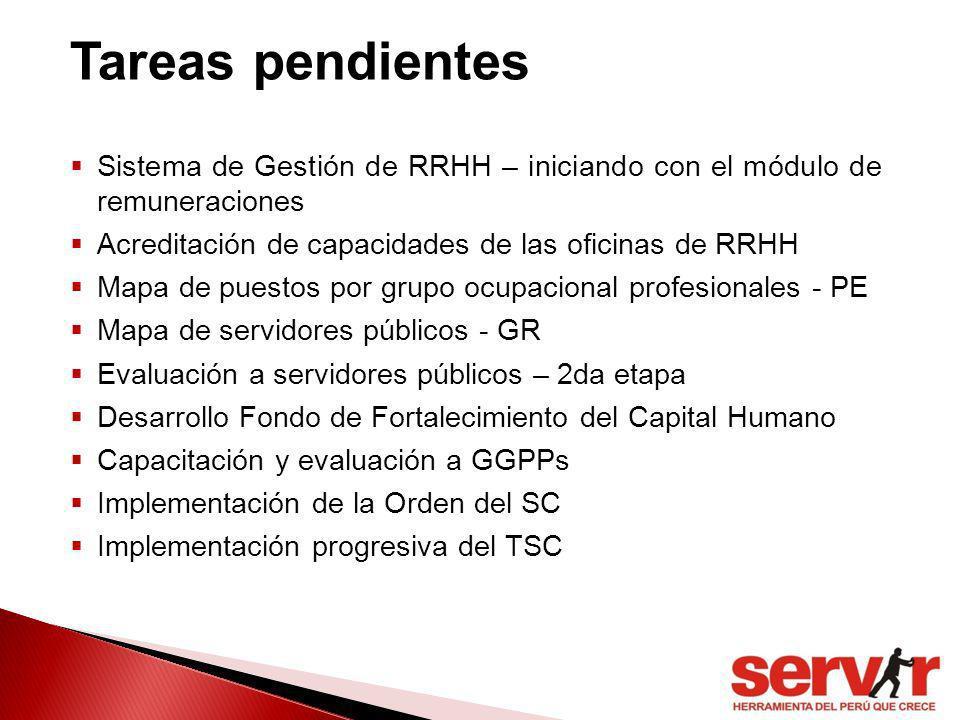 Tareas pendientes Sistema de Gestión de RRHH – iniciando con el módulo de remuneraciones. Acreditación de capacidades de las oficinas de RRHH.