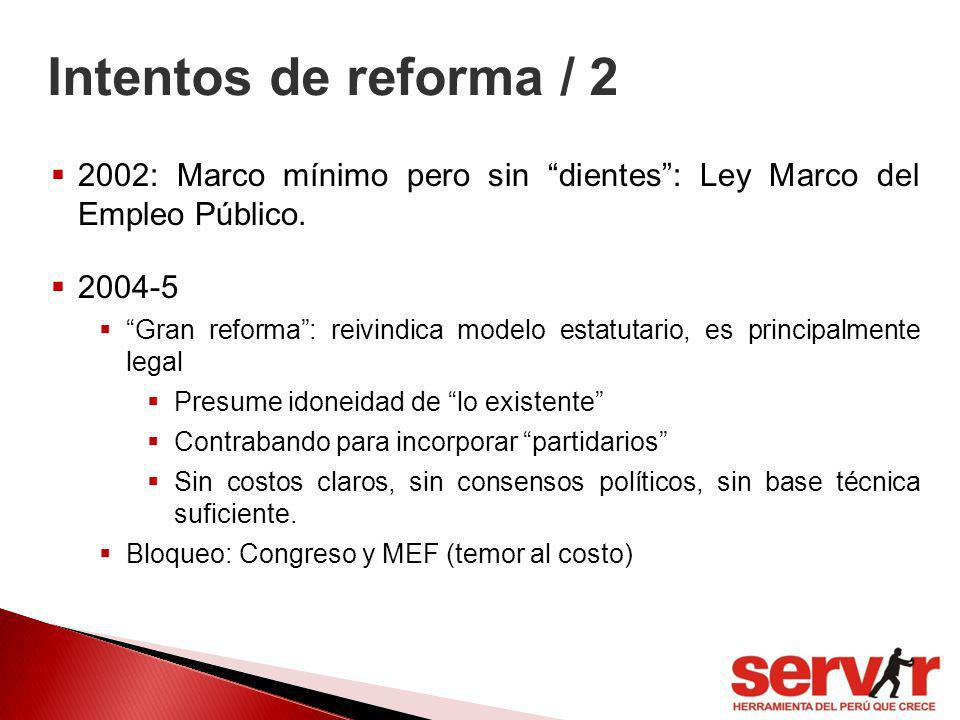 Intentos de reforma / 2 2002: Marco mínimo pero sin dientes : Ley Marco del Empleo Público. 2004-5.