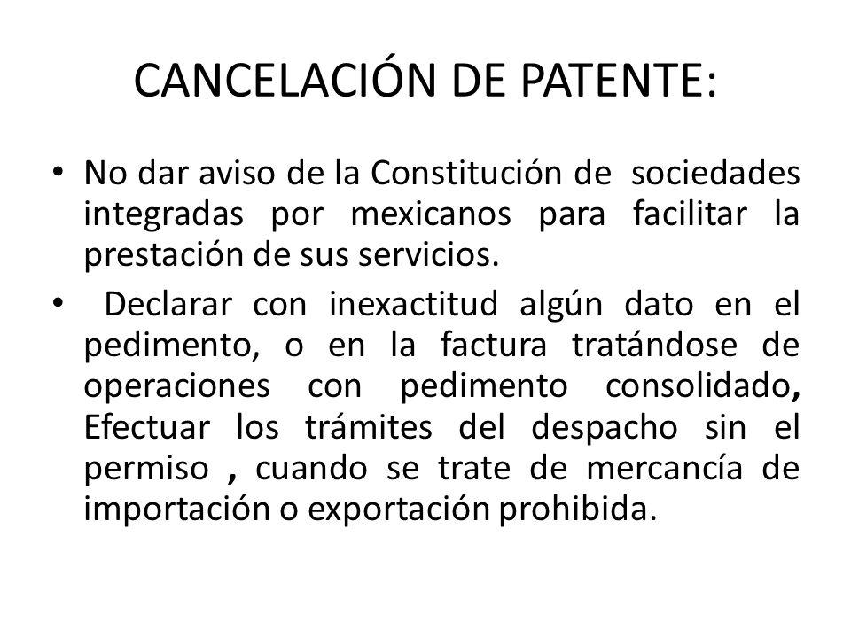 CANCELACIÓN DE PATENTE: