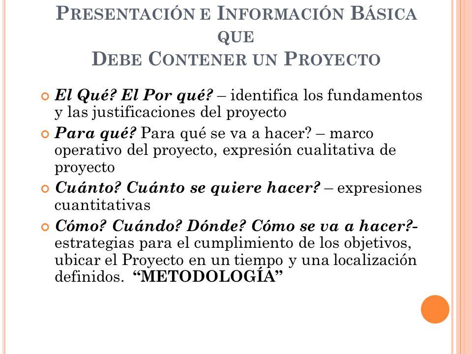 Presentación e Información Básica que Debe Contener un Proyecto