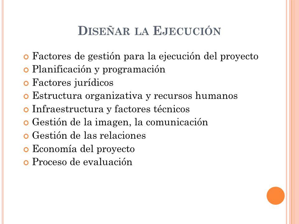 Diseñar la Ejecución Factores de gestión para la ejecución del proyecto. Planificación y programación.
