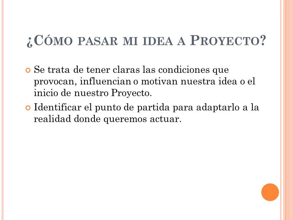 ¿Cómo pasar mi idea a Proyecto
