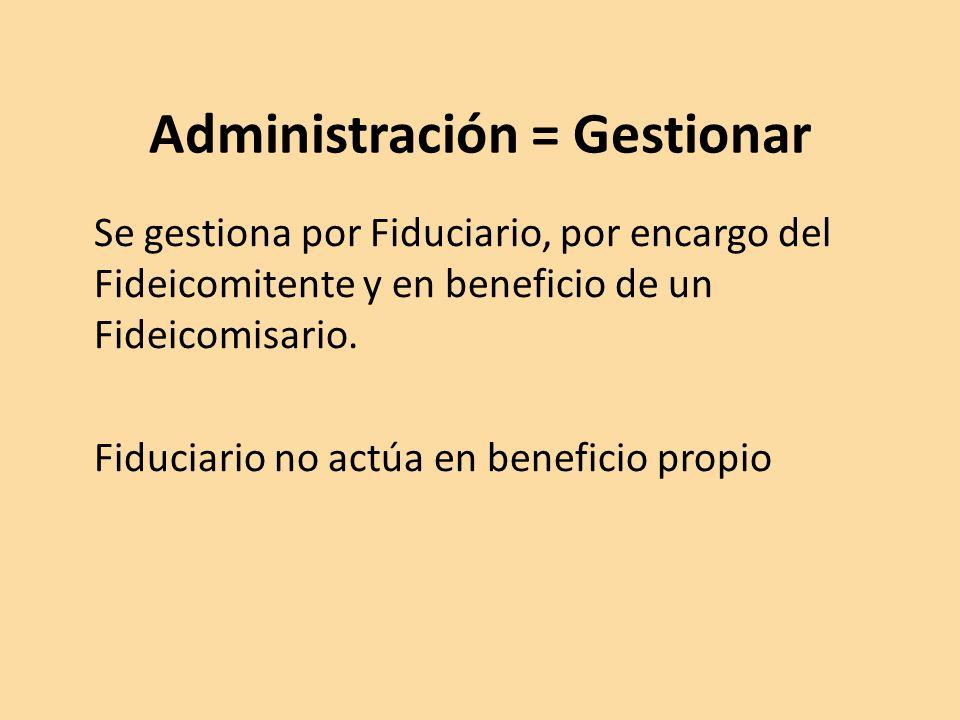 Administración = Gestionar