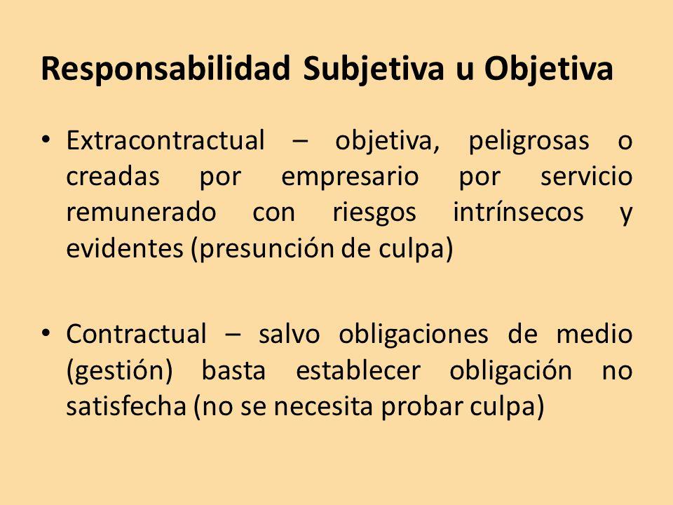 Responsabilidad Subjetiva u Objetiva