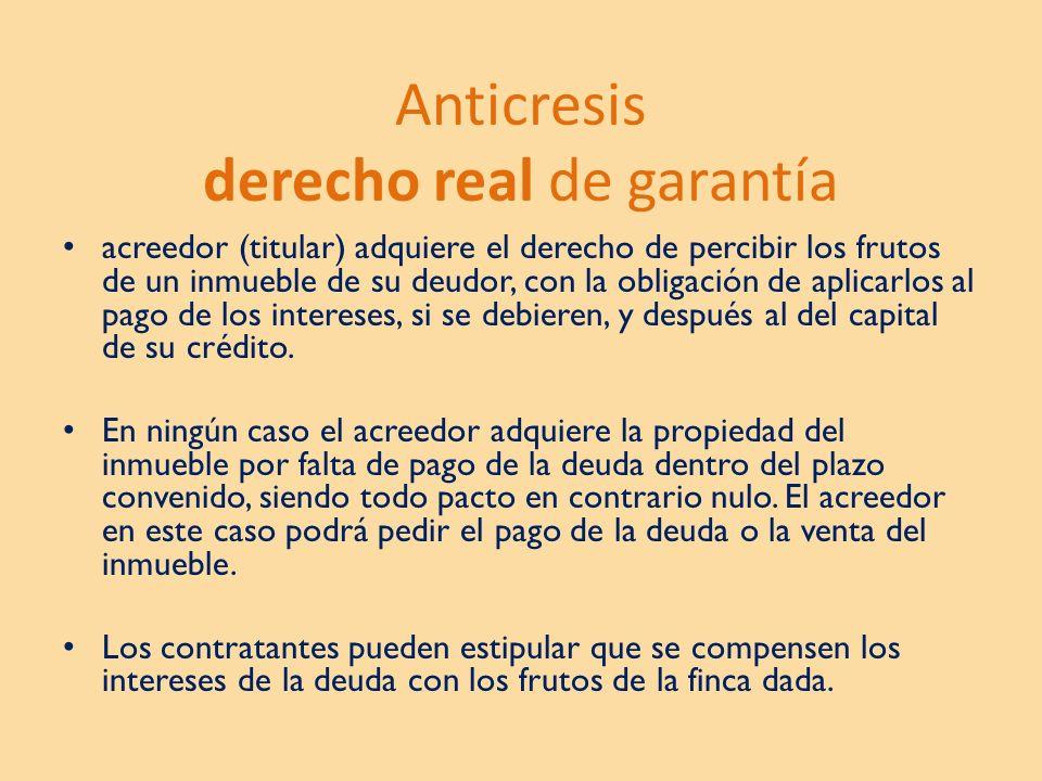 Anticresis derecho real de garantía