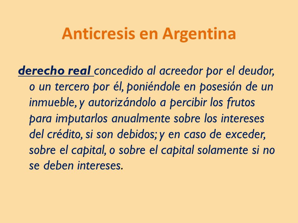 Anticresis en Argentina