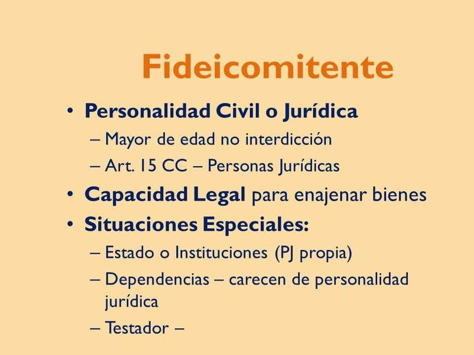 Fideicomitente Personalidad Civil o Jurídica