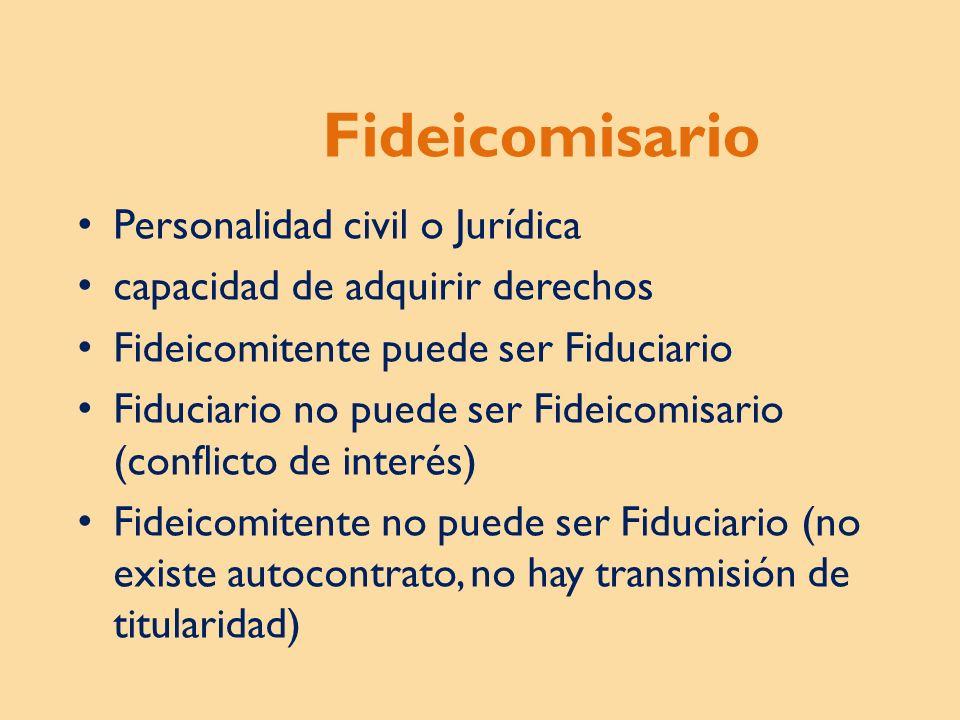 Fideicomisario Personalidad civil o Jurídica
