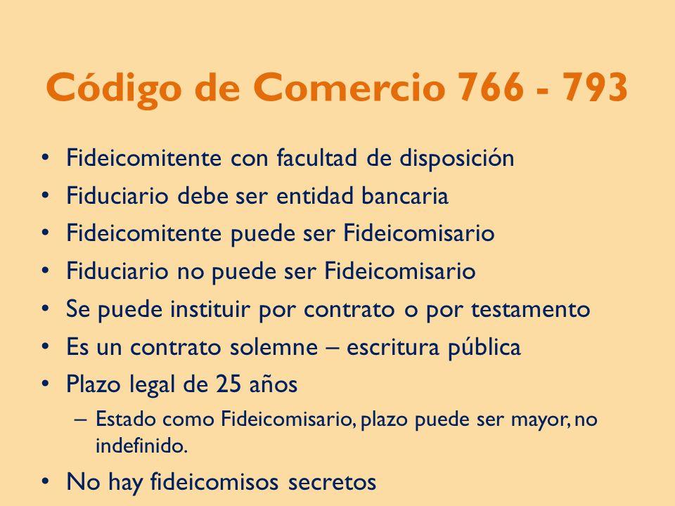 Código de Comercio 766 - 793 Fideicomitente con facultad de disposición. Fiduciario debe ser entidad bancaria.