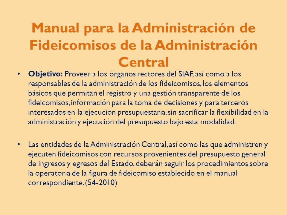 Manual para la Administración de Fideicomisos de la Administración Central