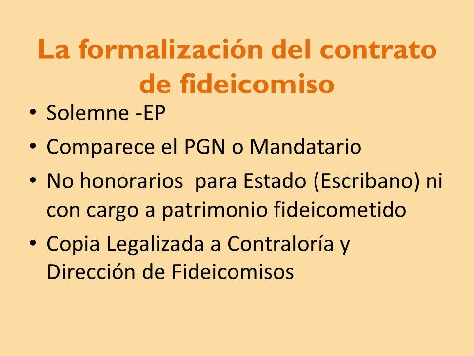 La formalización del contrato de fideicomiso