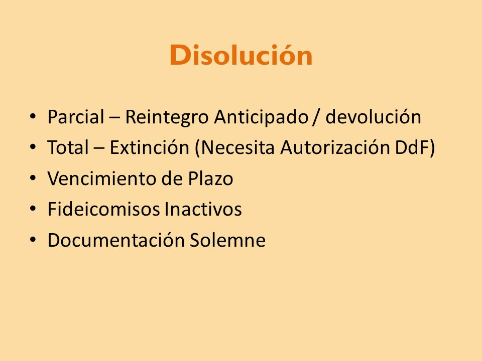 Disolución Parcial – Reintegro Anticipado / devolución