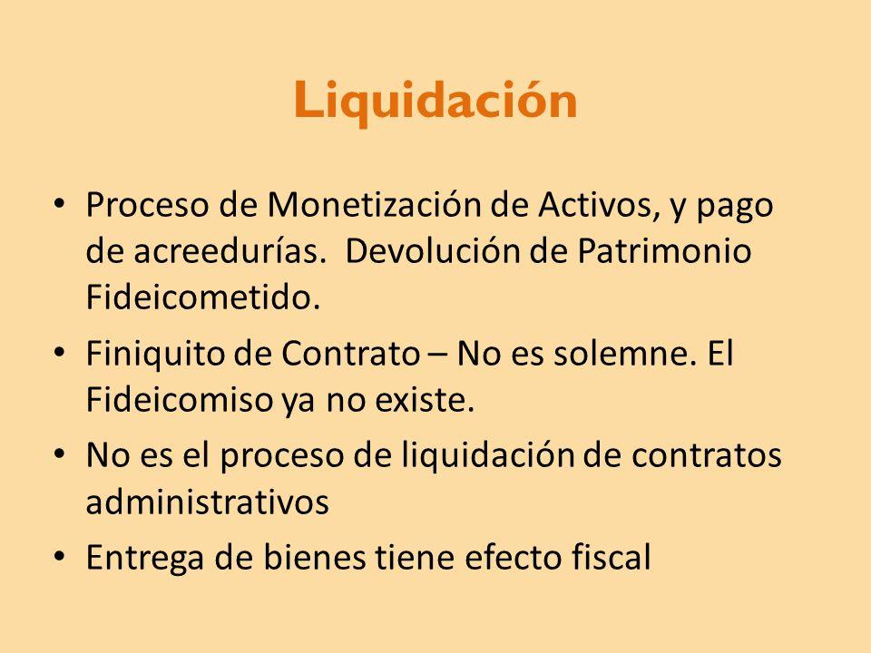 Liquidación Proceso de Monetización de Activos, y pago de acreedurías. Devolución de Patrimonio Fideicometido.