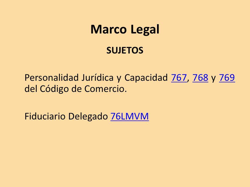 Marco Legal SUJETOS Personalidad Jurídica y Capacidad 767, 768 y 769 del Código de Comercio.