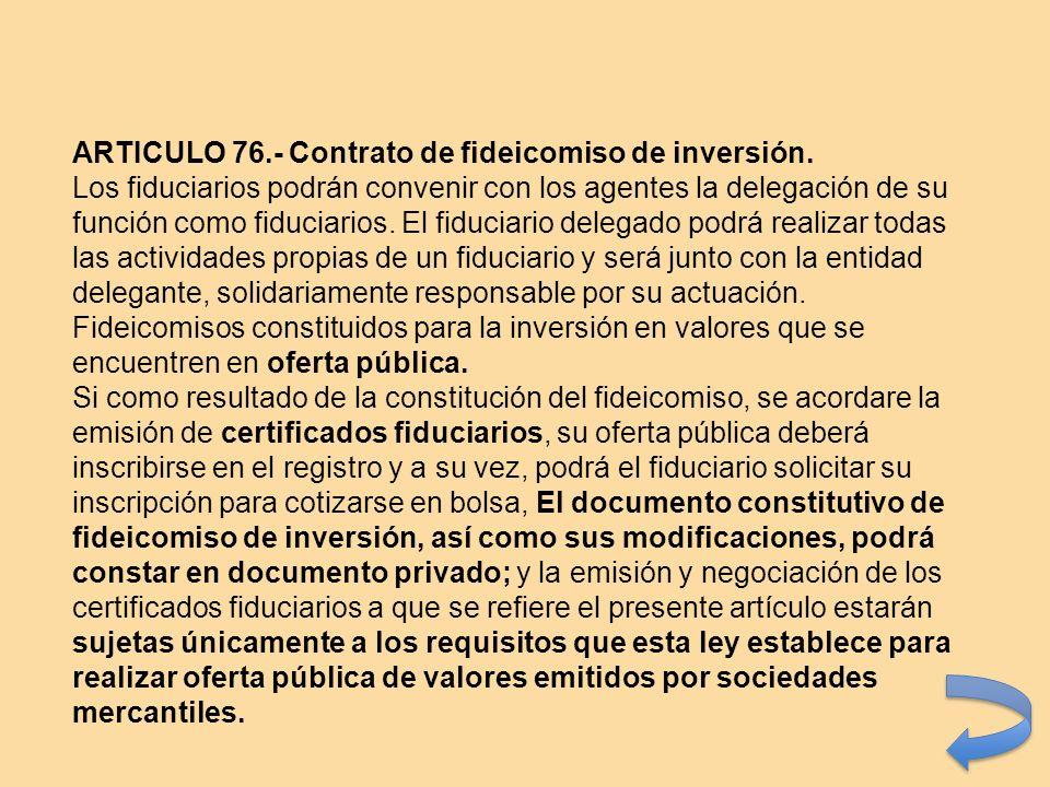 ARTICULO 76.- Contrato de fideicomiso de inversión.