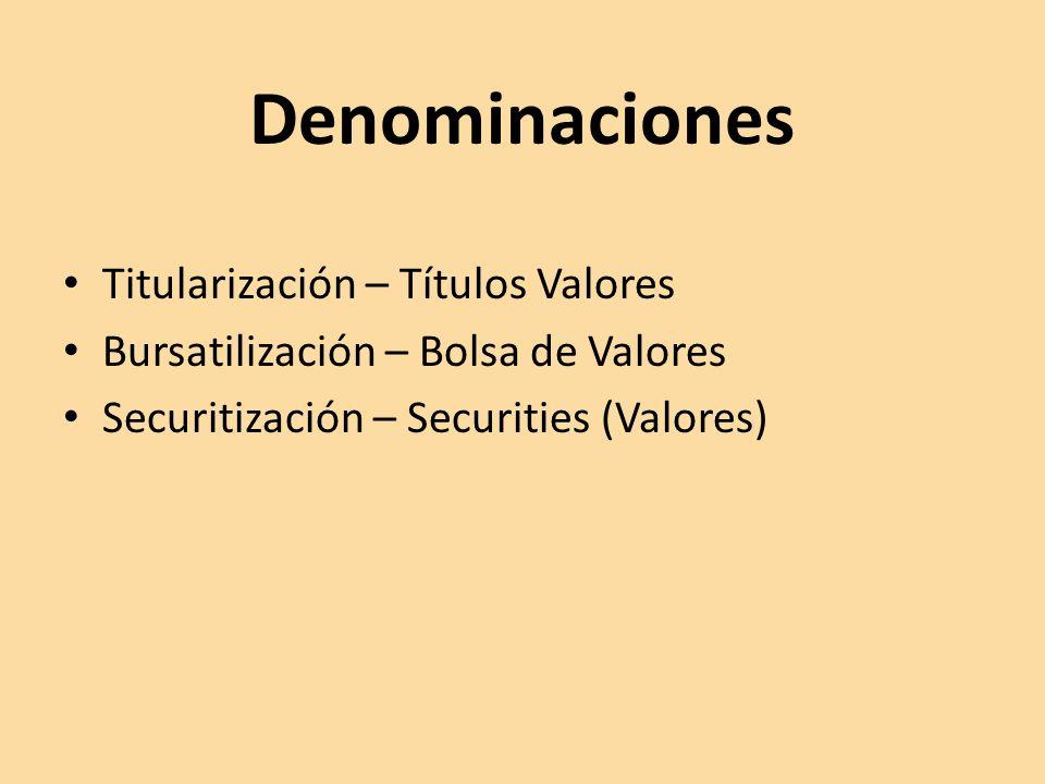 Denominaciones Titularización – Títulos Valores