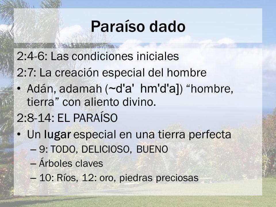 Paraíso dado 2:4-6: Las condiciones iniciales