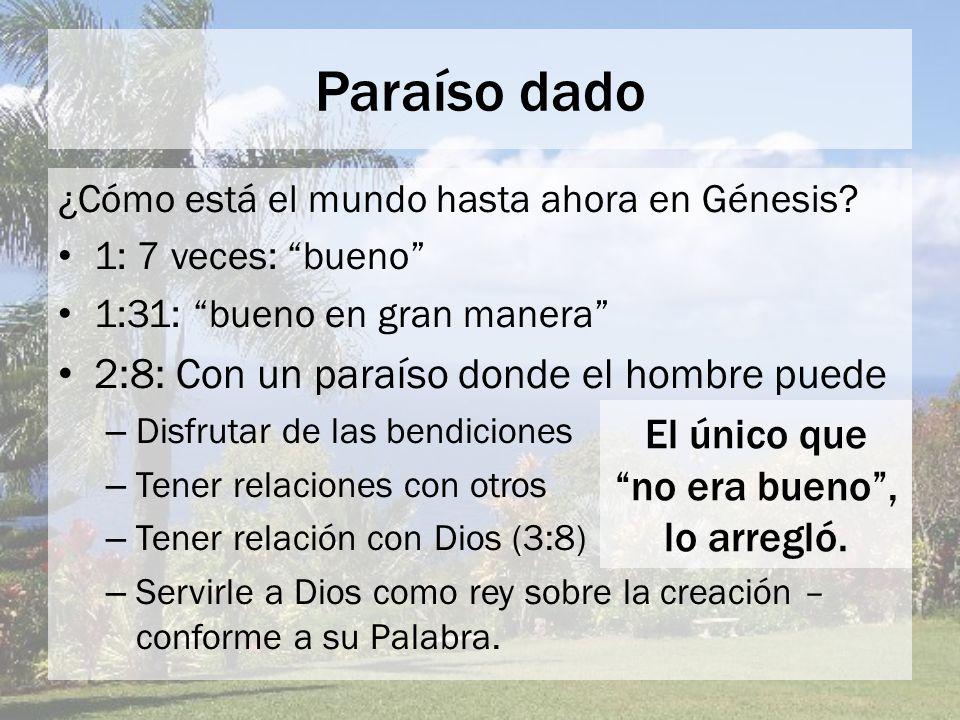 Paraíso dado 2:8: Con un paraíso donde el hombre puede El único que