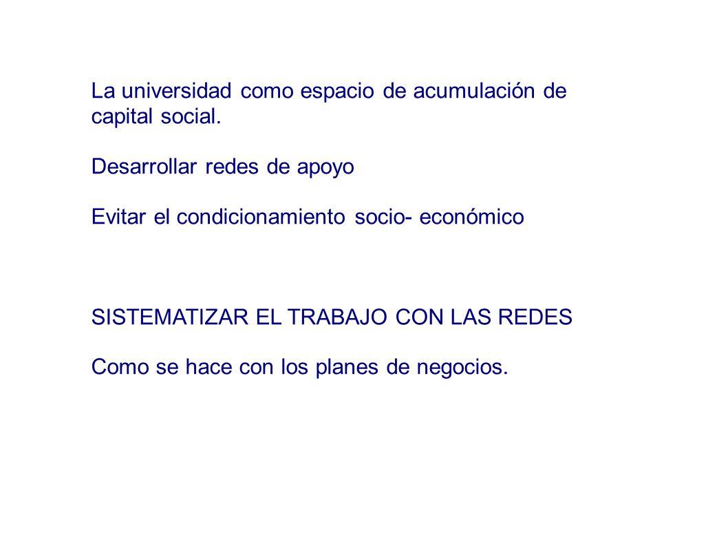 La universidad como espacio de acumulación de capital social.