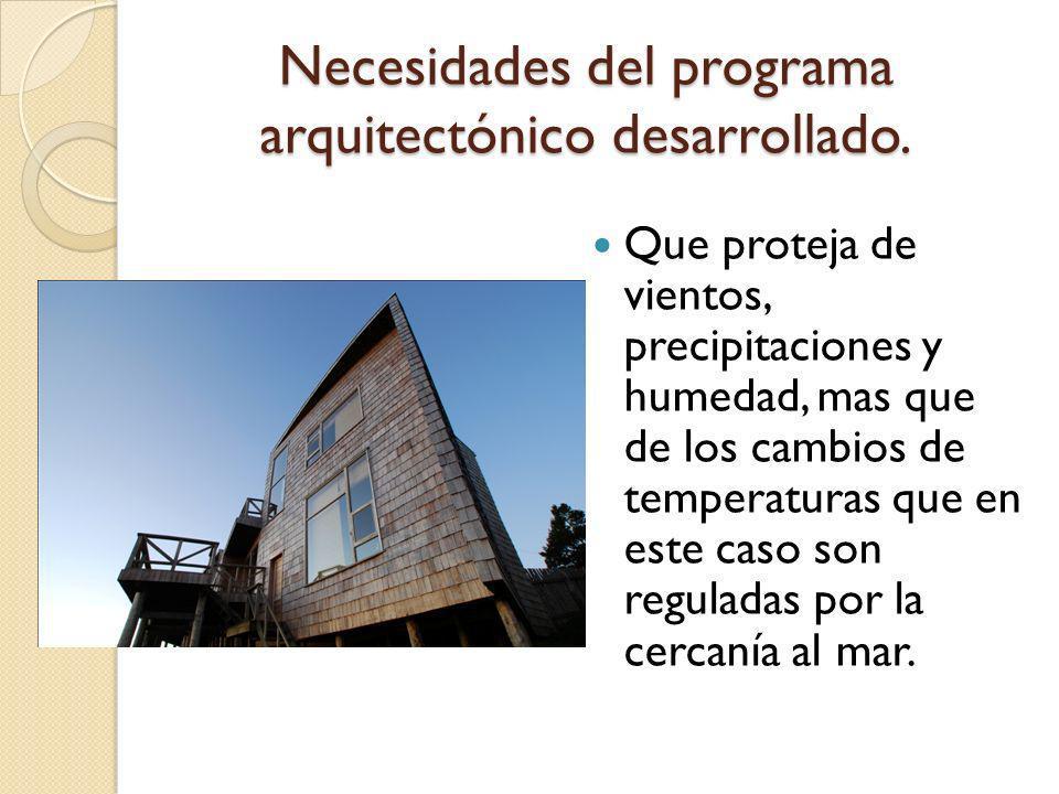 Necesidades del programa arquitectónico desarrollado.