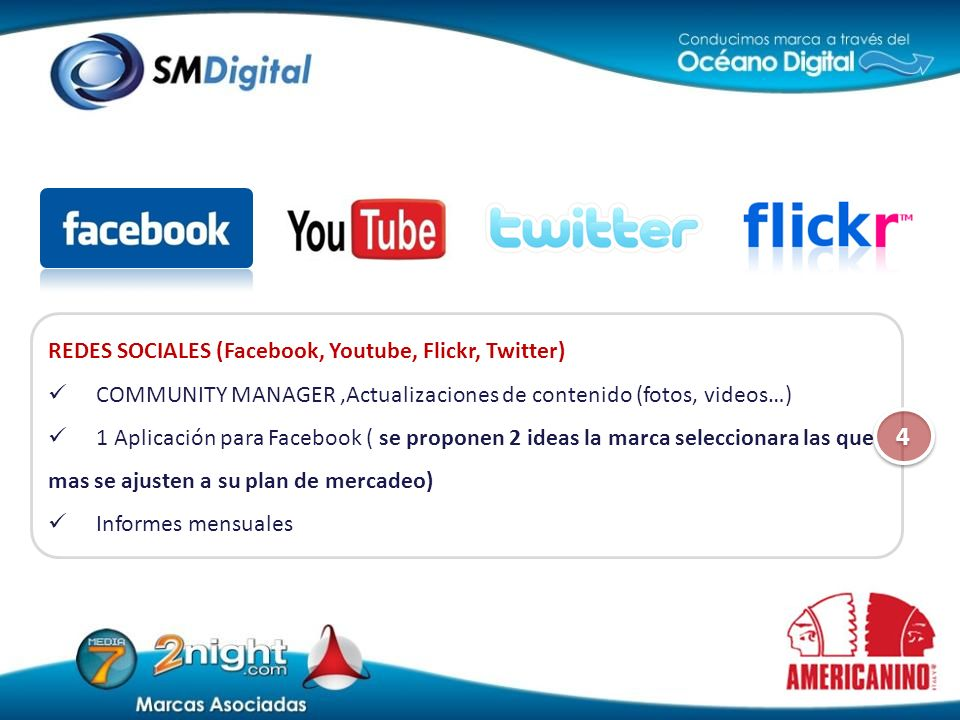 4 REDES SOCIALES (Facebook, Youtube, Flickr, Twitter)