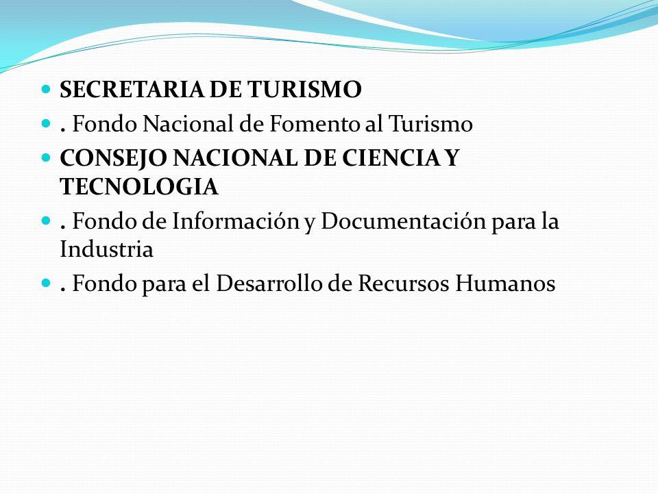 SECRETARIA DE TURISMO . Fondo Nacional de Fomento al Turismo. CONSEJO NACIONAL DE CIENCIA Y TECNOLOGIA.