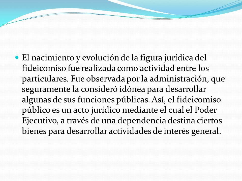El nacimiento y evolución de la figura jurídica del fideicomiso fue realizada como actividad entre los particulares.